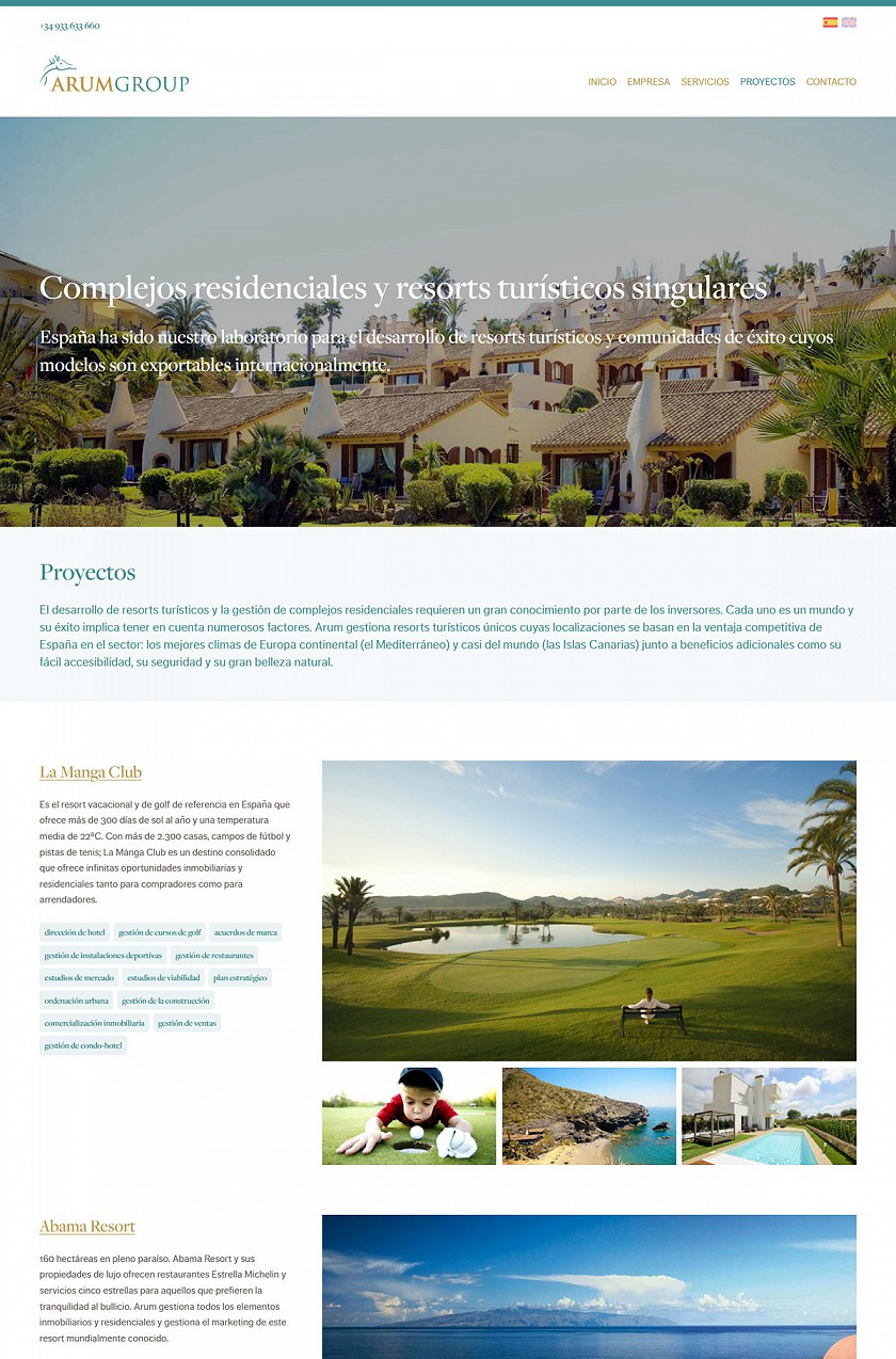 Arum Group responsive web design screenshots