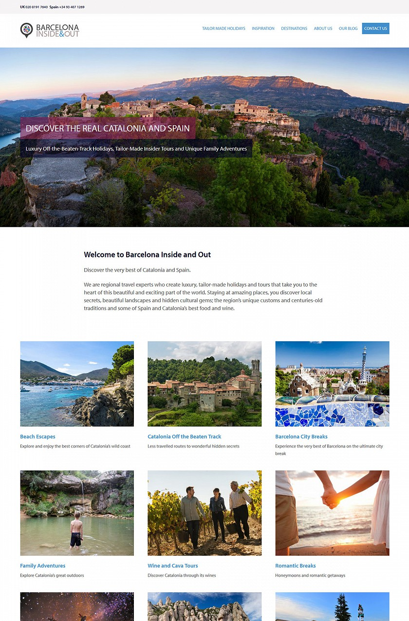 Barcelona Inside and Out responsive web design screenshots