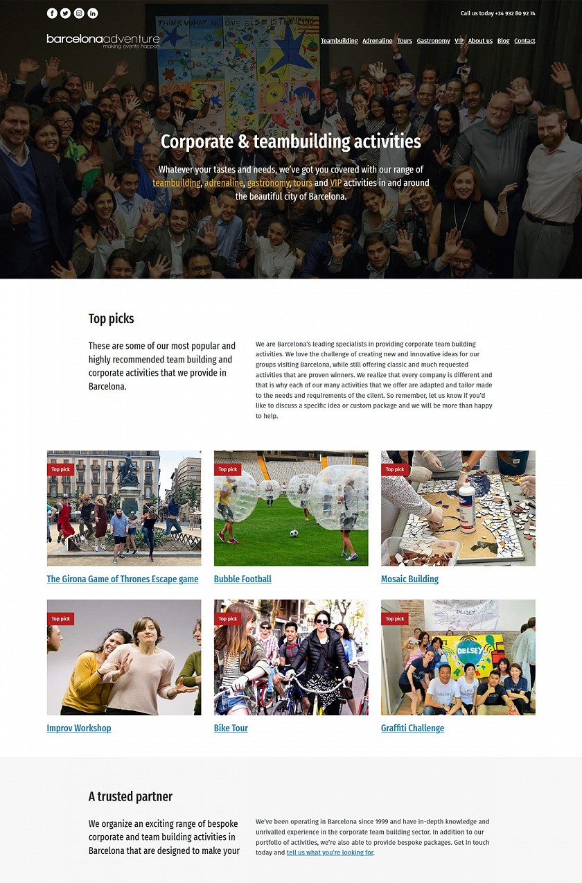 BCN Adventure responsive web design screenshots
