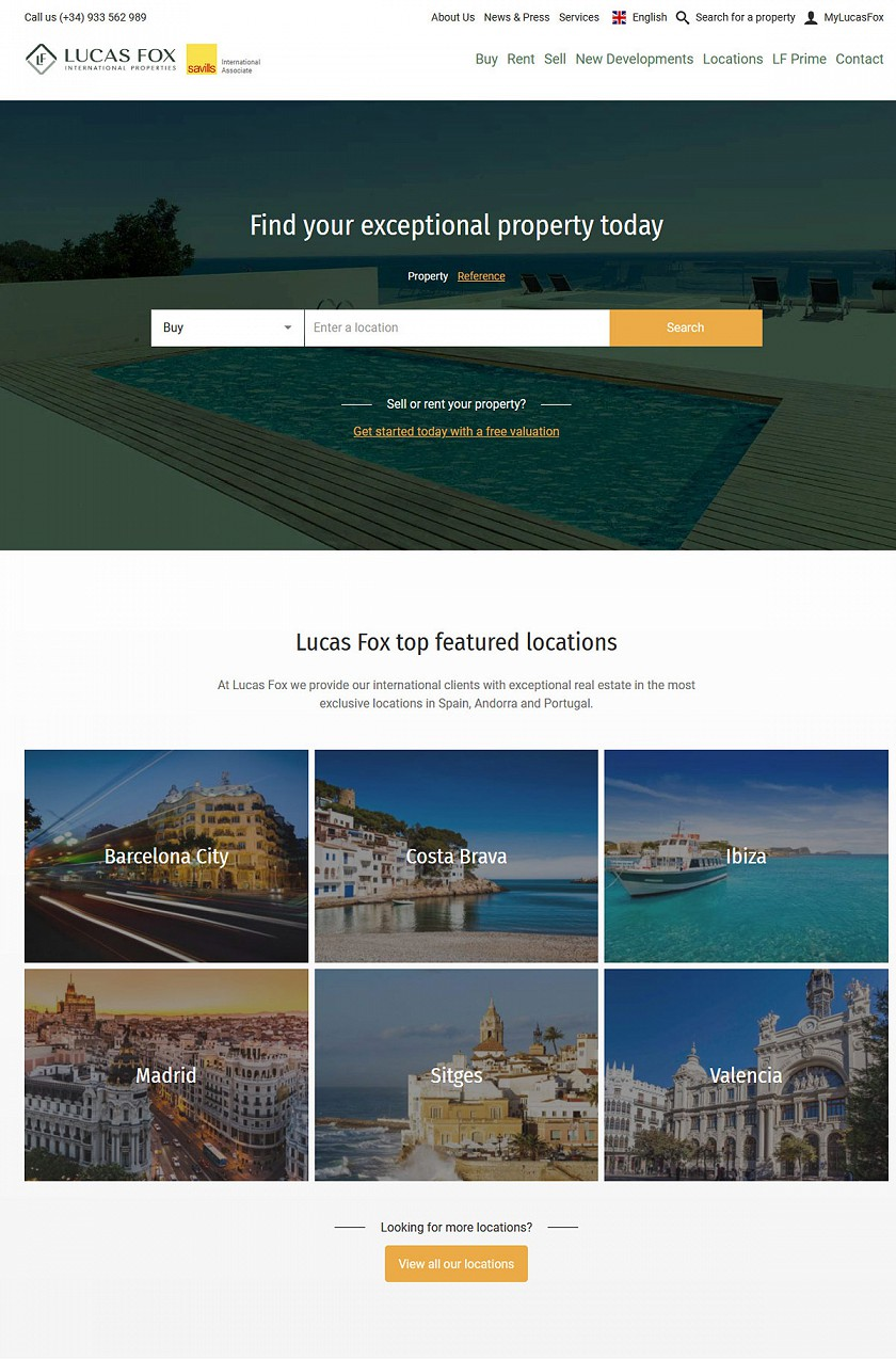 Lucas Fox International Properties capturas de pantalla de diseño web responsive
